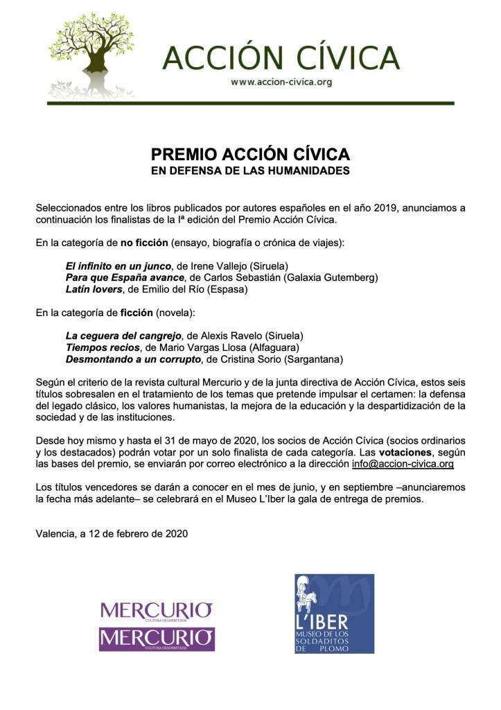 Anuncio finalistas Premio Acción Cívica